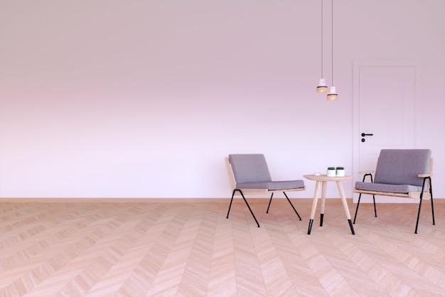 Renderização 3d cena interior e maquete duas poltronas modernas com mesa de centro e luz pendente