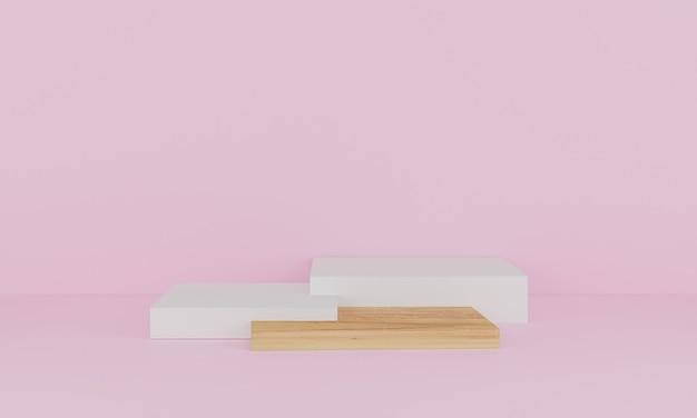Renderização 3d. cena mínima abstrata com geométrica. pódio de madeira em fundo rosa. pedestal ou plataforma para display, apresentação de produto, mock up, show de produto cosmético