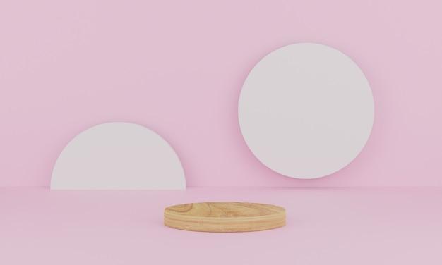 Renderização 3d. cena mínima abstrata com geométrica. pódio de madeira em fundo rosa.