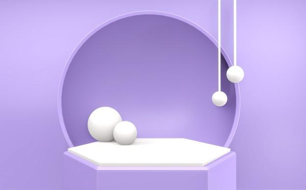 Renderização 3d cena mínima abstrata pódio geométrico roxo para apresentação do produto