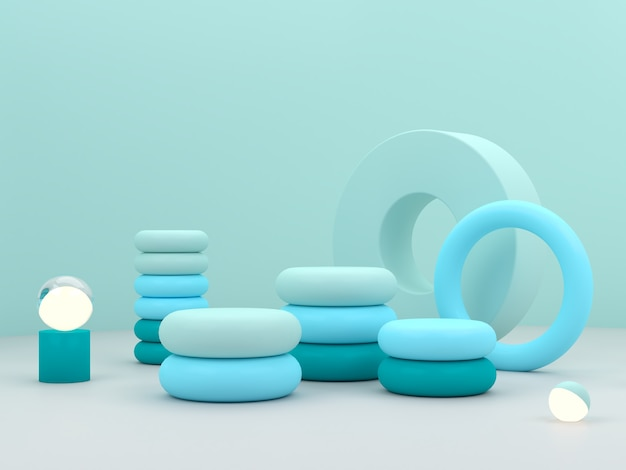 Renderização 3d. cena mínima com pódio do cilindro e luzes esféricas em fundo azul abstrato.