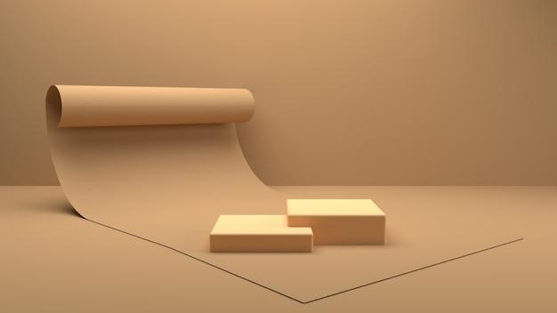 Renderização 3d cena quadrada do pódio para o produto