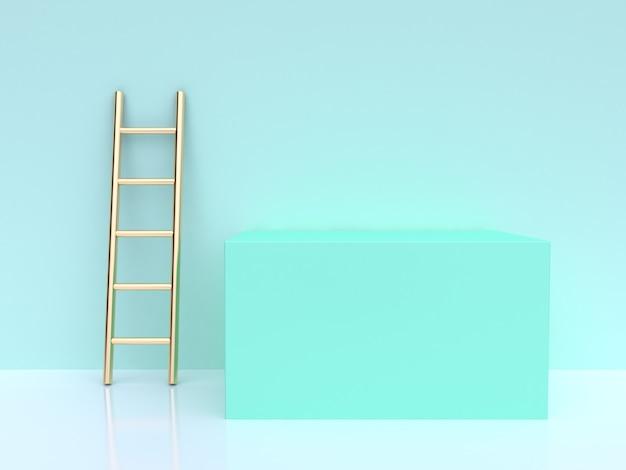 Renderização 3d, cena verde, escada ouro, quadrado, forma