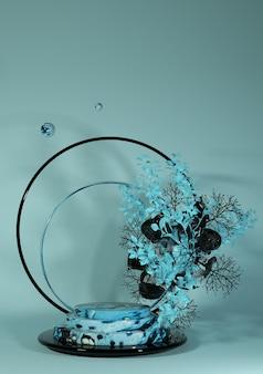 Renderização 3d cena vertical com pódio redondo de mármore e fundo abstrato de flor azul forma geométrica em cores pastel