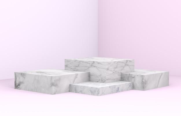 Renderização 3d. cenário de beleza natural para exposição de produtos cosméticos.