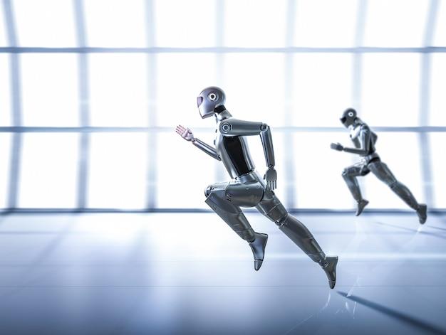Renderização 3d ciborgue de inteligência artificial ou robô executado