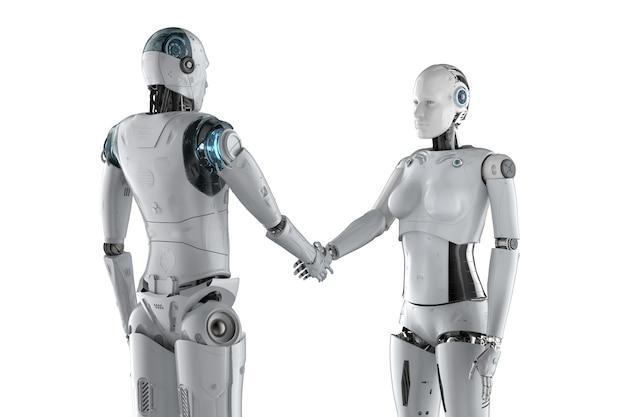 Renderização 3d ciborgue masculino e feminino apertando a mão