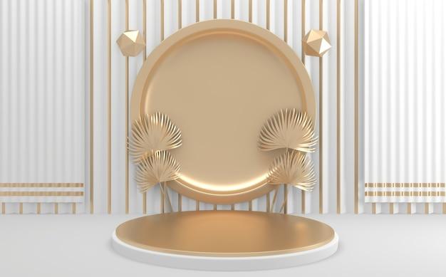 Renderização 3d círculo dourado e pódio geométrico branco
