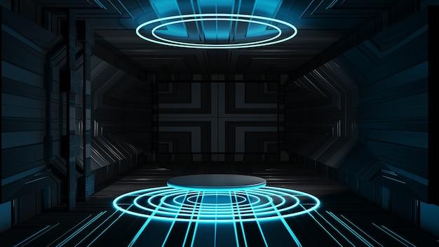 Renderização 3d círculo palco abstrato fundo preto design de interiores apresentação de palco vazio