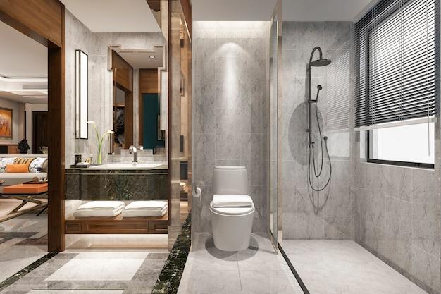 Renderização 3d clássica casa de banho moderna com decoração de azulejos de luxo perto da sala de estar