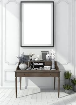 Renderização 3d clássica sala branca com mesa de maquiagem e mock up frame