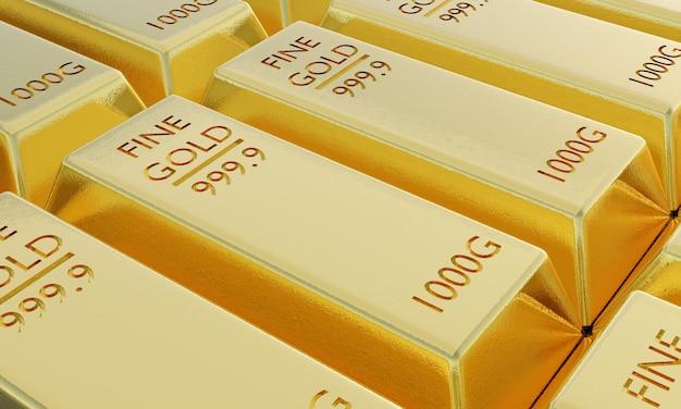 Renderização 3d close das barras de ouro na pilha, conceitos financeiros e de negócios