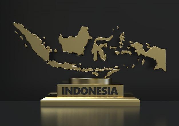 Renderização 3d close-up mapa dourado indonésio isolado em fundo escuro