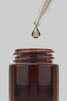 Renderização 3d close-up soro de óleos essenciais com água cai para a garrafa em branco