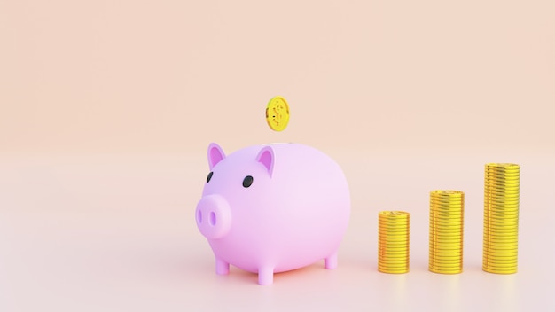 Renderização 3d. cofrinho rosa com moedas de ouro caindo. o conceito de economizar ou economizar dinheiro. copie o espaço para o seu texto no fundo. ilustração 3d.