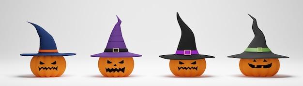 Renderização 3d. coleção de abóbora de halloween com um chapéu de bruxa em fundo branco.