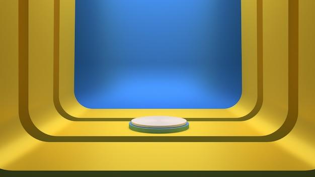 Renderização 3d com cena do pódio dourado e fundo azul