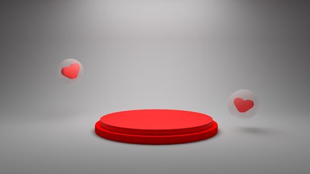 Renderização 3d com cena vermelha do pódio e bolha com foto premium