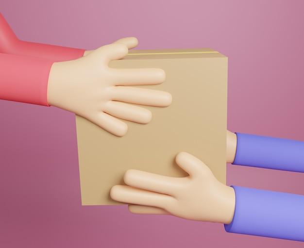 Renderização 3d com duas mãos entregando e recebendo o pacote