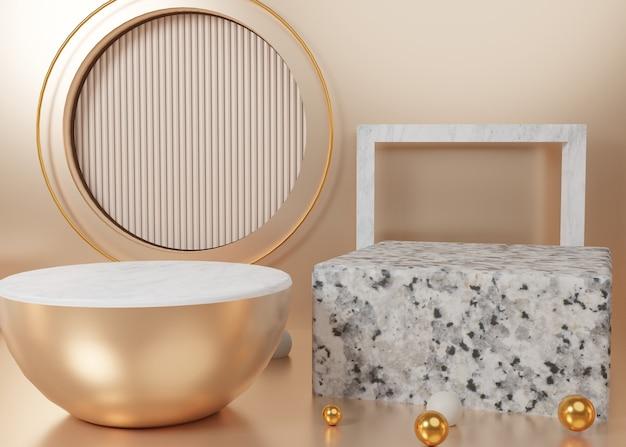 Renderização 3d com exibição de pastel de ouro no pódio do produto no fundo. geometria mínima abstrata. imagem premium