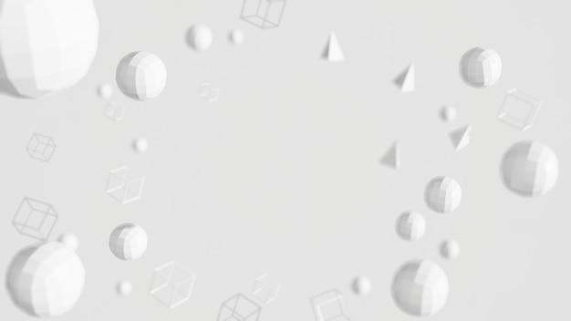 Renderização 3d com forma de polígono cor branca