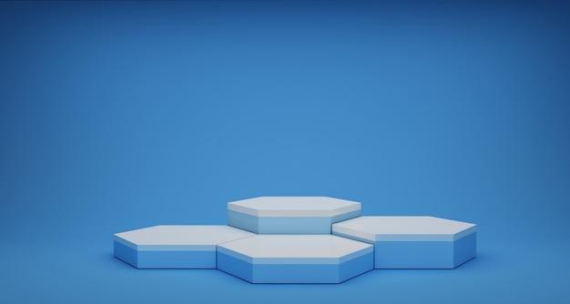 Renderização 3d com hexágono, fundo abstrato azul