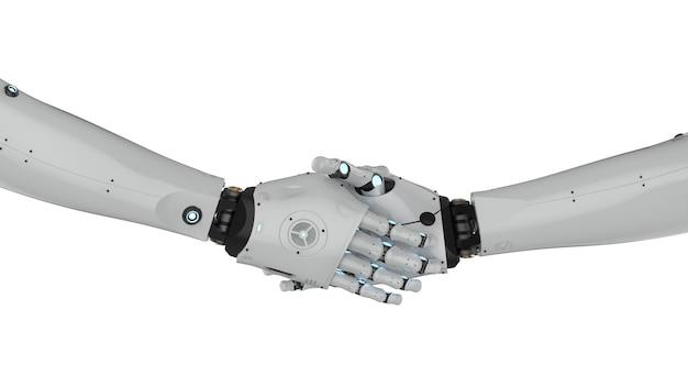 Renderização 3d com movimento de mão do robô isolado no branco