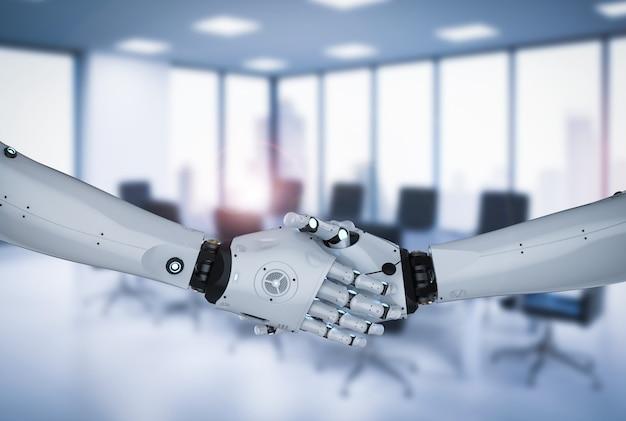 Renderização 3d com movimento de mão do robô no fundo do escritório