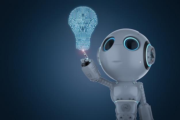 Renderização 3d com o dedo do mini robô apontando para a lâmpada