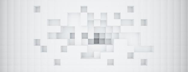 Renderização 3d com regtangle, fundo abstrato branco