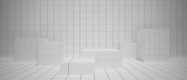 Renderização 3d com retângulo, fundo abstrato branco