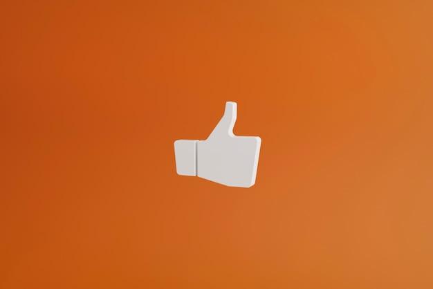 Renderização 3d, como ícone, polegar para cima