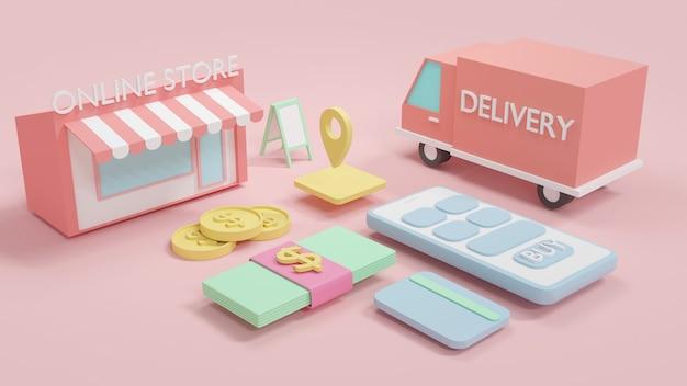 Renderização 3d conceito de compras online telefone loja online dinheiro fatura dinheiro cartão de crédito caminhão de entrega