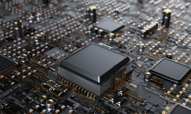Renderização 3d, conceito de cpu de processadores de computador central fundo de tecnologia microprocessador chipset unidade de processador central conceito cibernético e futurista, hardware, ia, eletrônicos, com espaço de cópia