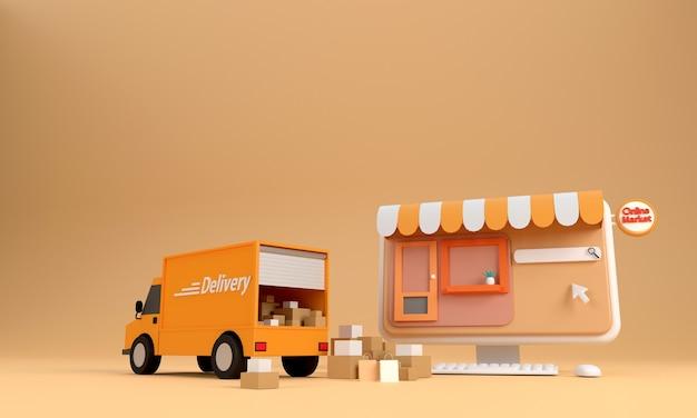 Renderização 3d. conceito de e-commerce, compras on-line e serviço de entrega em aplicativo de computador, transporte de entrega em alta velocidade por caminhão,