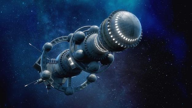 Renderização 3d. conceito de nave alienígena