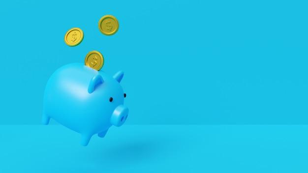 Renderização 3d, conceito de poupança de dinheiro, cofrinho com moedas do dólar