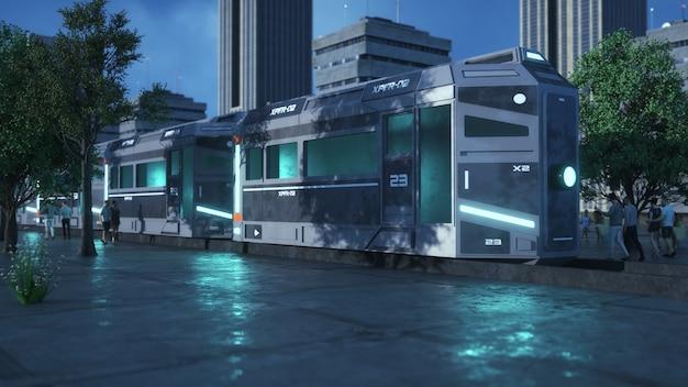 Renderização 3d. conceito de trem futurista