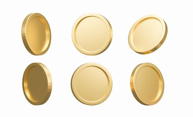 Renderização 3d. conjunto de moedas de ouro isoladas no fundo em posições diferentes. banco ou ilustração financeira