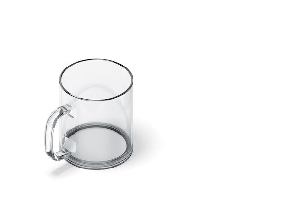 Renderização 3d copo vazio colocado no branco