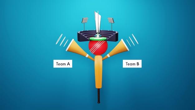 Renderização 3d cricket stadium view com silver trophy cup e participantes da equipe a vs b sobre fundo azul.