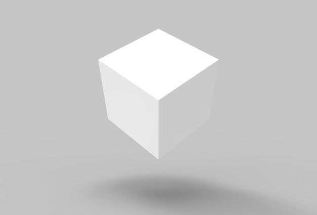 Renderização 3d. cubo de caixa giratória branco flutuante com sombra no fundo do chão.