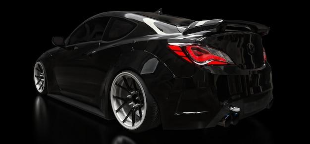 Renderização 3d cupê de carro esporte preto