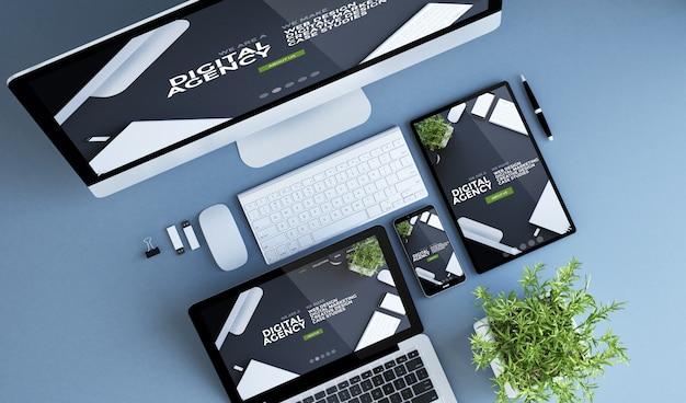 Renderização 3d da agência digital da vista superior dos dispositivos azuis