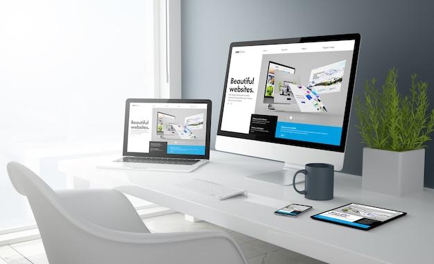 Renderização 3d da área de trabalho com todos os dispositivos mostrando o site do construtor. todos os gráficos da tela são compostos.