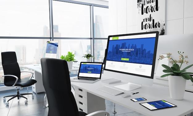 Renderização 3d da área de trabalho do escritório com design moderno do site na tela