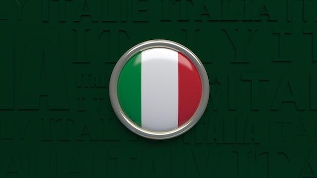 Renderização 3d da bandeira nacional da itália