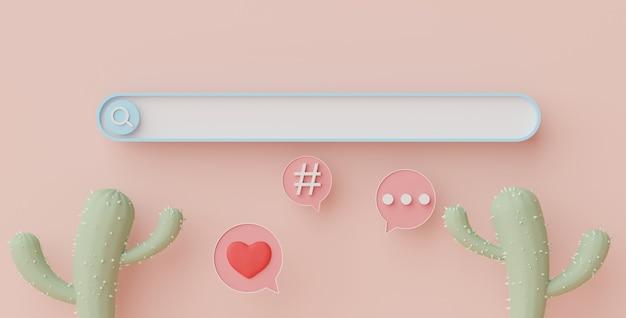 Renderização 3d da barra de menu de pesquisa mínima ou ampliação de banner em branco com espaço de cópia em fundo em tom pastel