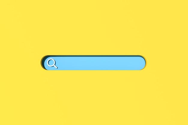 Renderização 3d da barra de pesquisa em branco sobre fundo amarelo. cena mínima de pesquisa na internet.
