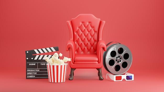 Renderização 3d da cadeira de cinema vermelha com pipoca, ripa, espelho 3d, carretel